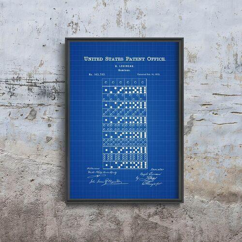 Plakat vintage do salonu Plakat vintage do salonu Domino Louineau Gra Patent USA