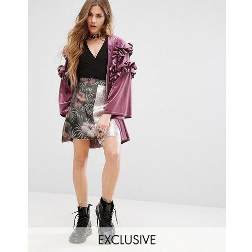 inspired mini skirt in metallic mixed floral jacquard - pink marki Reclaimed vintage