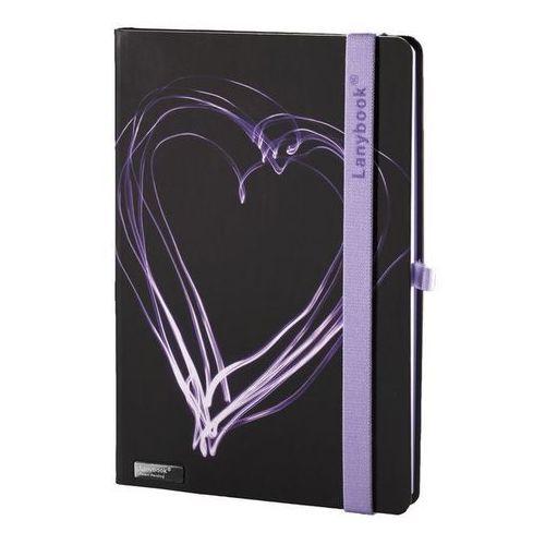 Lediberg Notes a5 lanybook night light w kratkę czarny z liliową gumką (8057432197510)