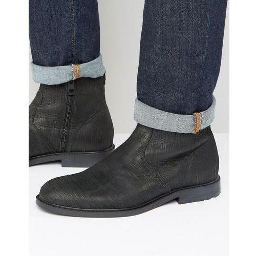 Boss orange  by hugo boss cultroot textured chelsea boots - black
