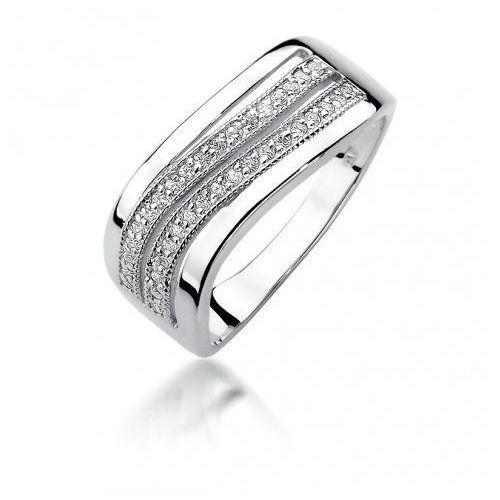 Biżuteria SAXO 14K Pierścionek z brylantami 0,18ct W-416 Białe Złoto, W-416B-0.18