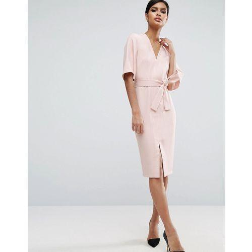 Clean Obi Wrap Dress with V Front - Pink, suknia, sukienka ASOS