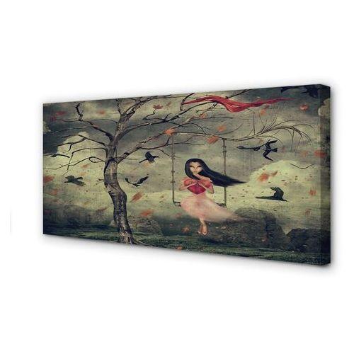 Obrazy na płótnie Drzewo ptaki dziewczynka chmury skały