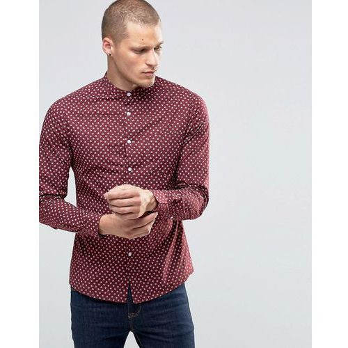 ASOS Skinny Shirt With Ditsy Floral Print And Grandad Collar In Burgundy - Brown
