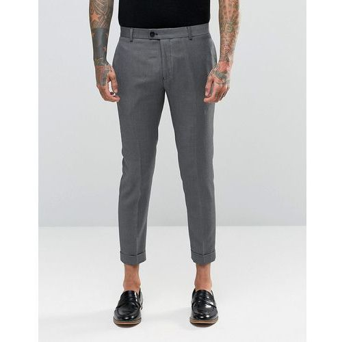 skinny fit cropped suit trousers in black and grey - black marki River island