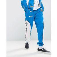 Jaded London Skinny Joggers In Blue With Racing Print - Blue, 1 rozmiar