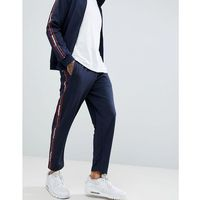 Pull&Bear Joggers With Slogan Side Stripe In Navy - Navy