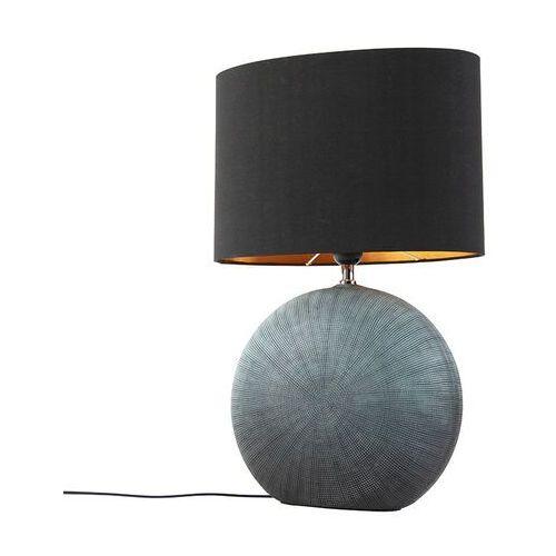 Klasyczna lampa stołowa niebieska klosz czarny 34cm - Cleo