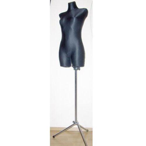 Manekin krawiecki - tors kobiecy długi czarny - rozmiar 38/40 na metalowym trójnogu.
