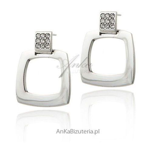 Eleganckie kolczyki srebrne swarovski marki Anka biżuteria