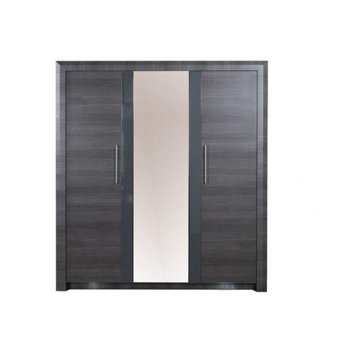 Vente-unique Szafa z lustrem britany - dł.183 cm - 3 drzwi - wykończenie: szary wiąz i diody led