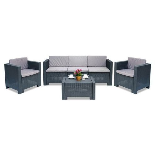 Meble ogrodowe z dużą kanapą Colorado Coffee 5 antracyt Bica