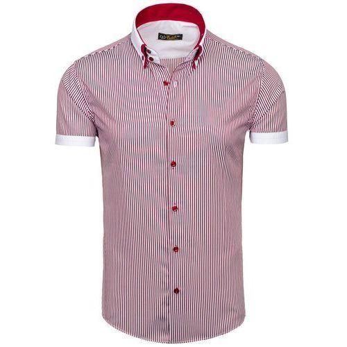 Bolf Biało-bordowa koszula męska w paski z krótkim rękawem Bolf 1808 - BIAŁO-BORDOWY, czerwona