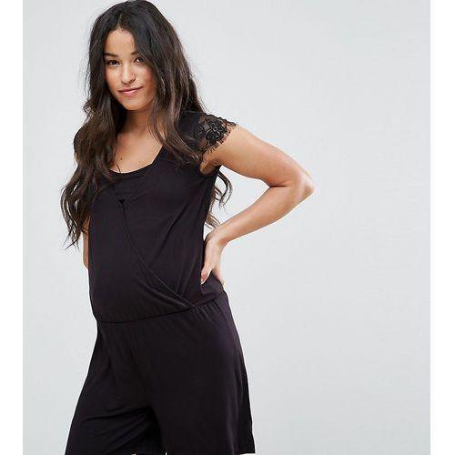 Mamalicious Nursing Playsuit With Lace Detail - Black