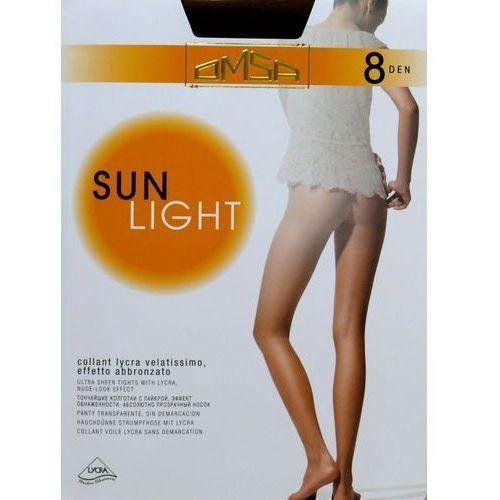 Rajstopy sun light 8 den 2-s, beżowy/beige naturel, omsa, Omsa