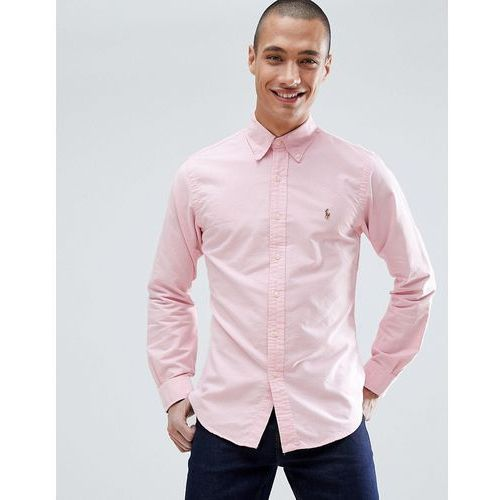 Polo Ralph Lauren player logo slim fit oxford shirt button-down in pink - Pink, kolor różowy