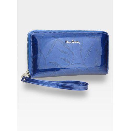 Pierre cardin Portfel damski skórzany duży podwójny suwak niebieski w liście 118