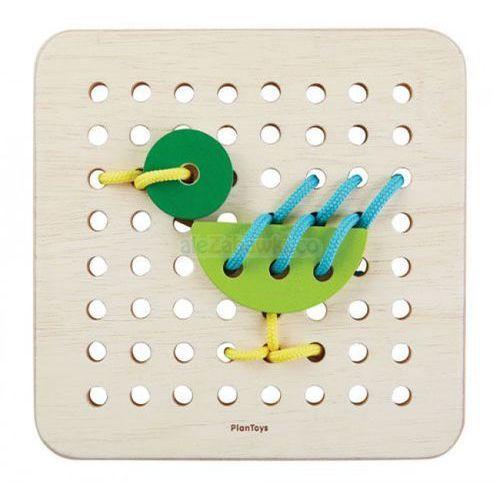 Drewniany zestaw do nauki sznurowania, marki Plan toys