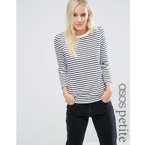 ASOS PETITE Long Sleeve Crew Neck Stripe T-Shirt With Tipping - Multi z kategorii Pozostała moda i styl