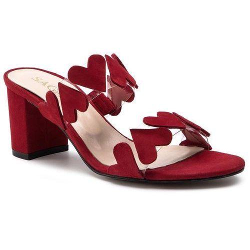 Klapki - 3610 czerwony welur marki Sagan