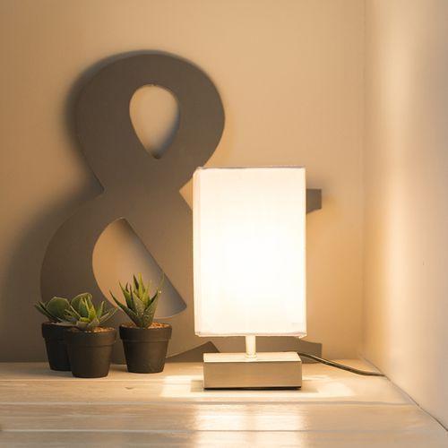 Lampa stołowa milo kwadratowa, biała marki Qazqa