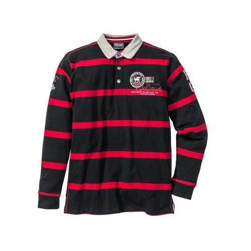 Bonprix Shirt polo z długim rękawem regular fit  czarno-czerwony w paski