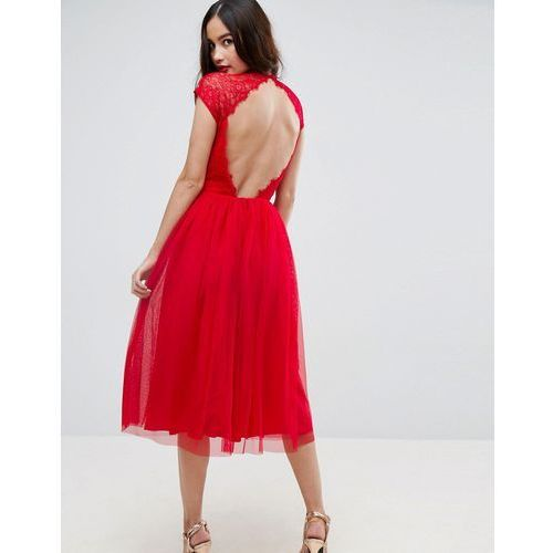 premium lace tulle midi prom dress - red, Asos