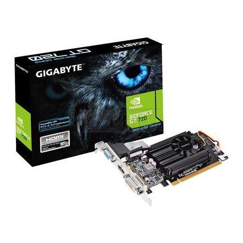 Karta graficzna Gigabyte GeForce® GT 720, 1GB DDR3 (64 Bit), HDMI, DVI, D-Sub - GV-N720D3-1GL z kategorii Karty graficzne