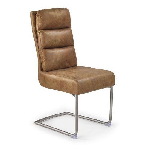 Halmar Krzesło k207 - stalowe krzesło - ekoskóra - brąz
