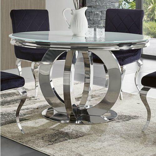 Stół glamour Dallas II okrągły - stal szlachetna blat szklany nowoczesny
