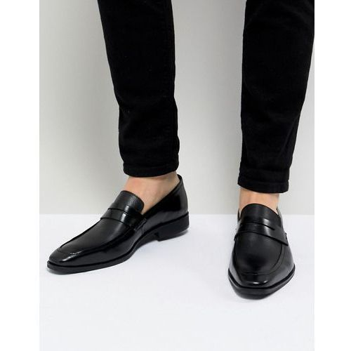 Dune cross hatch loafers in black leather - black