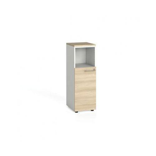 Szafa biurowa kombinowana z drzwiami, 1087x400x420 mm, biały / dąb naturalny od producenta B2b partner