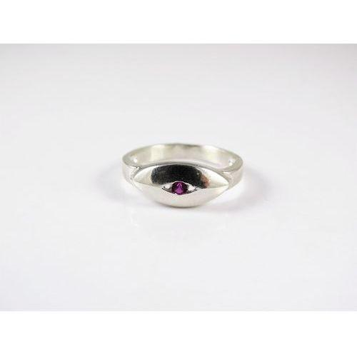 Srebrny pierścionek 925 RÓŻOWE OCZKO r. 13