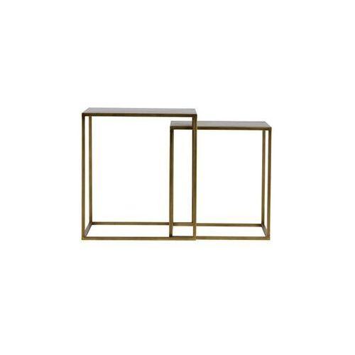 Woood Zestaw 2 stolików Ziva metalowe antyczny mosiądz 373706-B, 373706-B