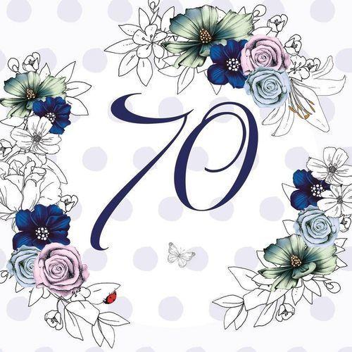 Karnet Swarovski kwadrat CL1470 Urodziny 70 kwiaty