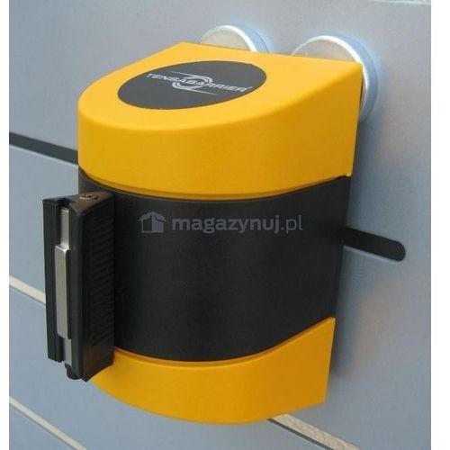Taśma ostrzegawcza rozwijana w kasecie mocowanej na magnes. MIDI. Zapięcie magnetyczne (Długość 4,6m), kup u jednego z partnerów
