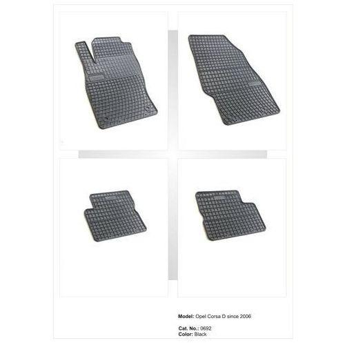 Dywaniki gumowe czarne z kompletem stoperów - opel corsa (d) 2006-2014, 5-osobowy marki Frogum