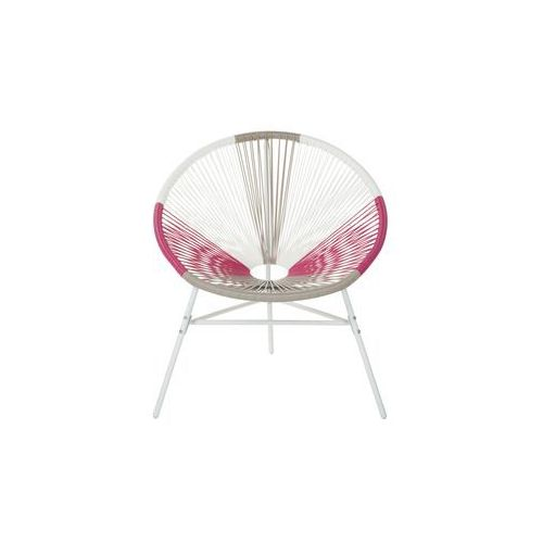 Beliani zestaw 2 krzeseł rattanowych biało-beżowo-różowe acapulco