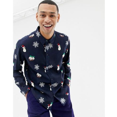 Another Influence Christmas Pudding Long Sleeve Shirt - Navy