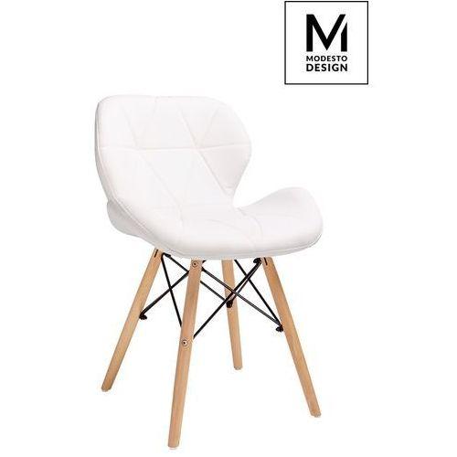 Modesto krzesło klipp białe - ekoskóra, podstawa bukowa marki Modesto design