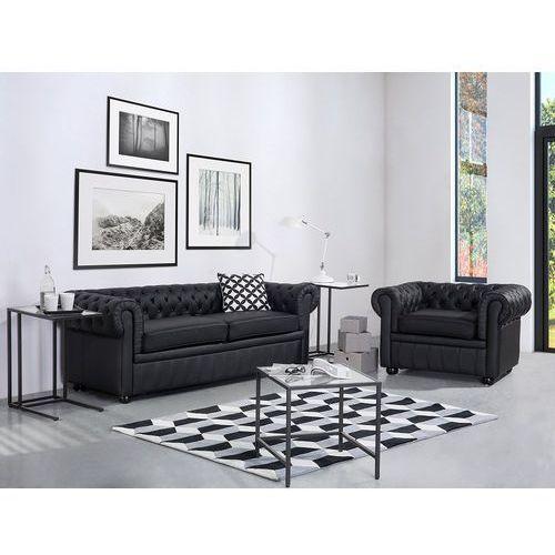 Sofa kanapa skórzana czarna klasyka dom biuro CHESTERFIELD (7081454334838)