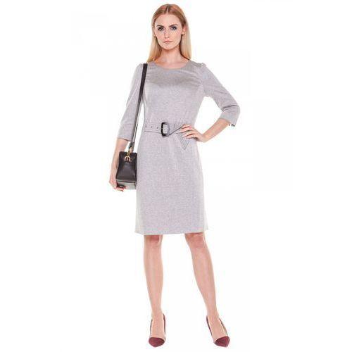 Szara sukienka wiązana paskiem - Potis & Verso
