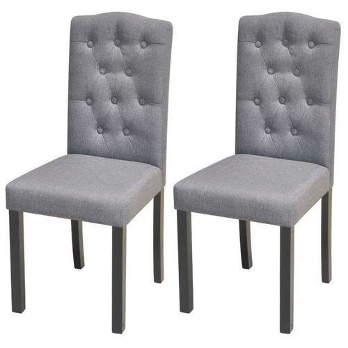 Krzesła do jadalni, tapicerowane tkaniną, ciemnoszare, 2 szt., kolor szary