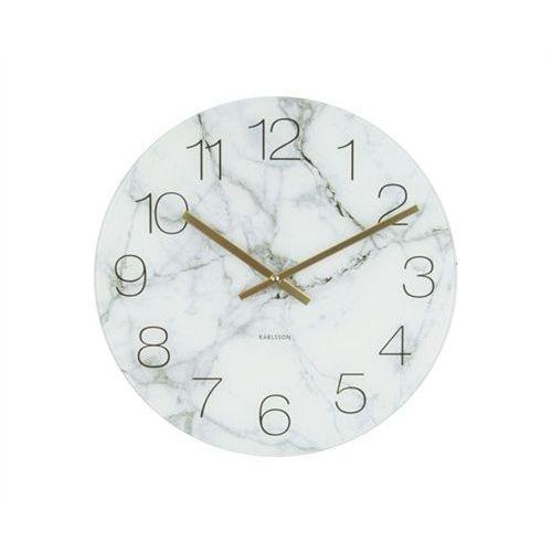 Karlsson Zegar stołowo-ścienny glass clock white marble by
