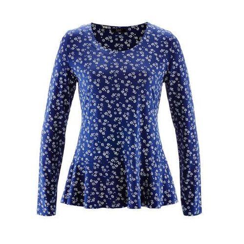 Shirt z baskinką, długi rękaw kobaltowy z nadrukiem, Bonprix, 48-50