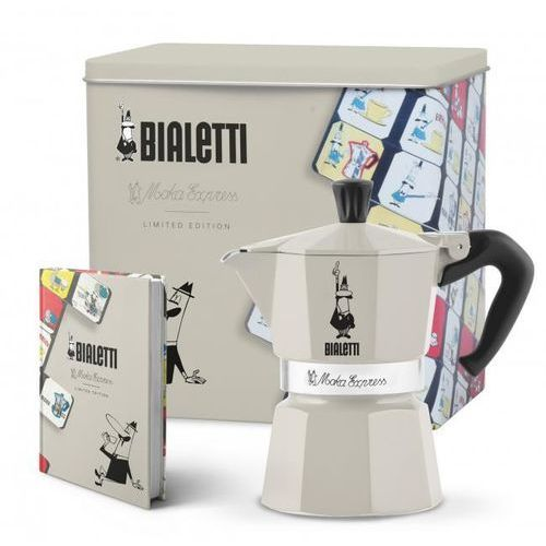 Bialetti - kawiarka moka express kremowa + puszka + notes (8006363023641)