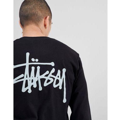 Stussy Long Sleeve T-Shirt With Logo Back Print in Black - Black, kolor czarny