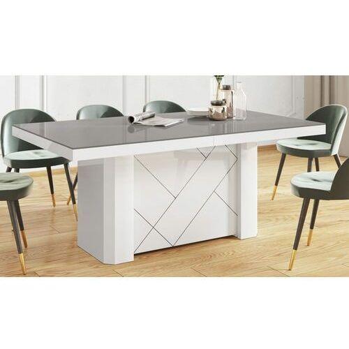 Hubertus Stół kolos max 180-468 szaro-biały połysk