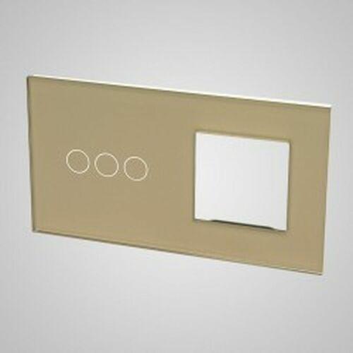 TouchMe Duży panel szklany, 1 x łącznik potrójny, 1 x ramka, złoty TM703728G, kolor złoty