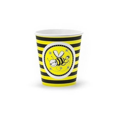 Twojestroje.pl Kubeczki papierowe pszczółka żółte 200ml 6 szt. (5901157492654)